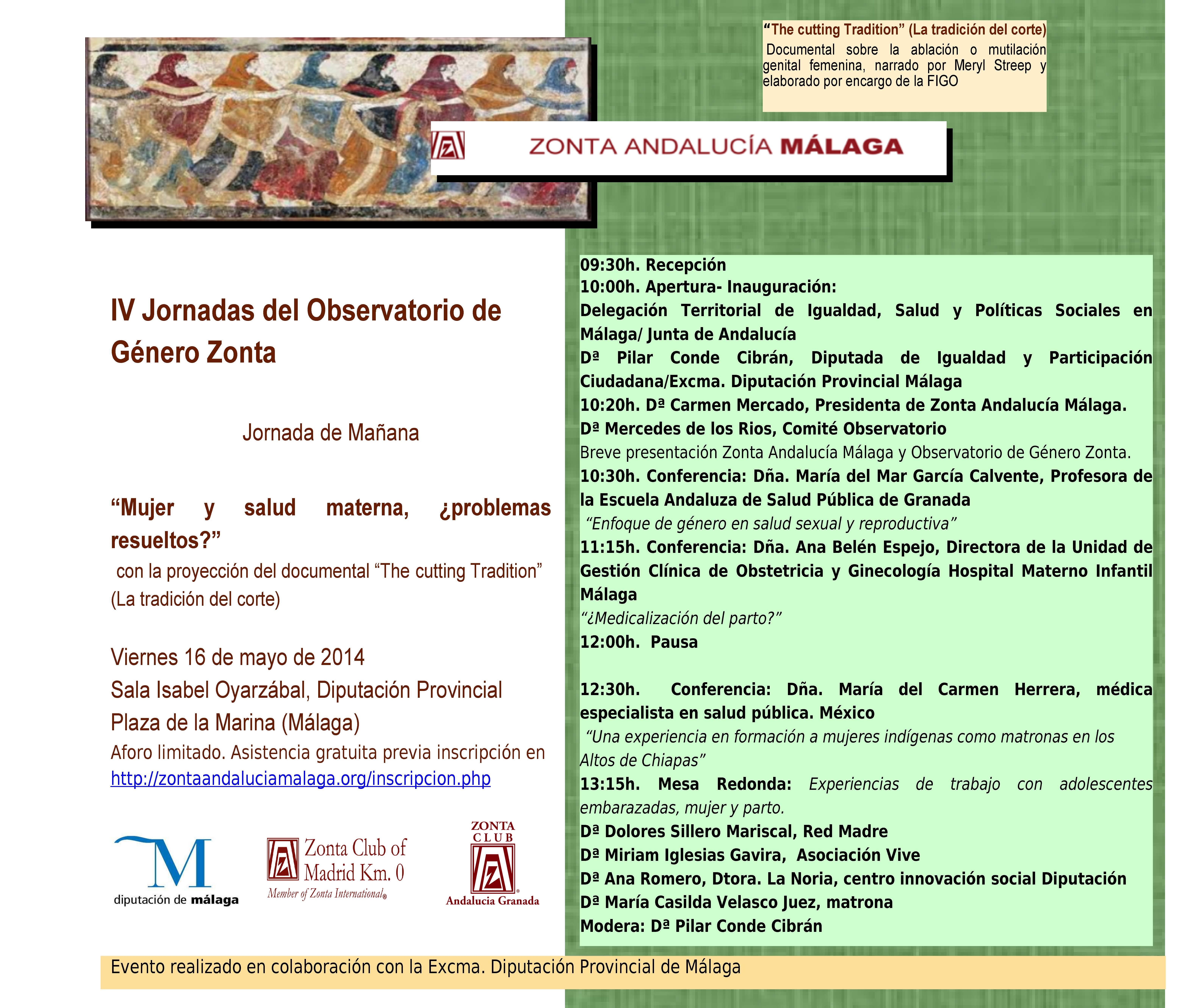 IV Jornadas del Observatorio de Género Zonta: Mujer y salud materna ...